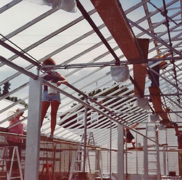 From glass to fiberglass & painting roof frames - 1980.