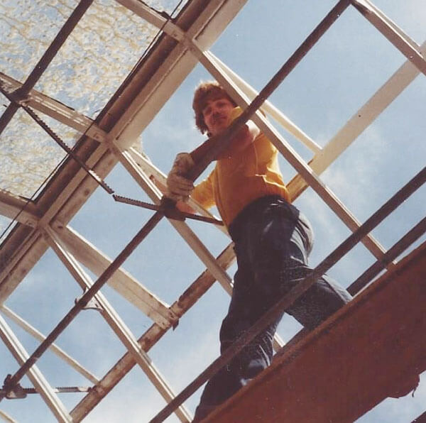 David Lind removing roof glass - 1980.