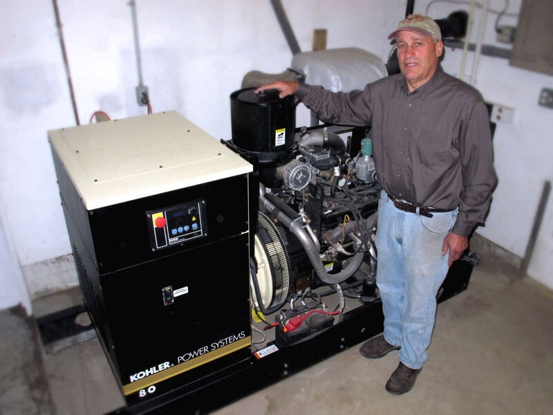 Rob Lind with new Kohler power system - 2012.